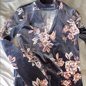 Women's Velvet Floral Keyhole Top